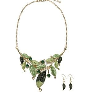 Bohemian Leaves Charming Necklace Earrings Set